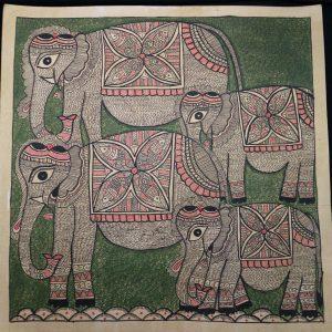 Elephants Madhubani Painting
