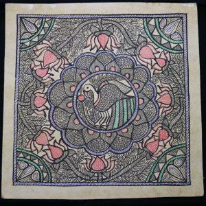 Bird and Lotus Madhubani Painting