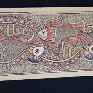 Fish and Peacocks Madhubani Painting