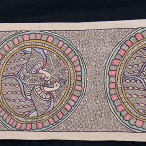Peacock Pairs in Circles Madhubani Painting