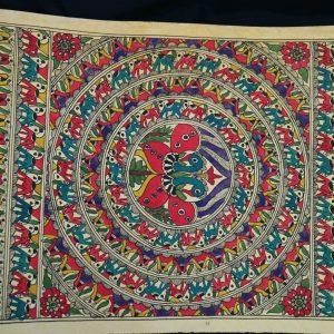 Peacock Vortex Madhubani Painting