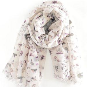 Kitten's Garden Handwoven Cotton Wool Stole (Purple)