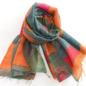 Multi Color Abstract Silk Wool Fusion Stole with Thin Fringes (Handwoven)