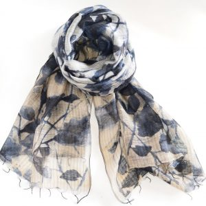 Blueish Blackish Leaves Silk Wool Fusion Stole with Thin Fringes (Handwoven)