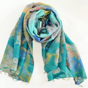 Sea Green Abstract Silk Wool Fusion Stole with Thin Fringes (Handwoven)