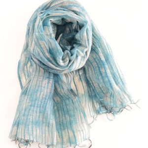 Pine Leaf Motifs on Blue Silk Wool Fusion Stole with Thin Fringes (Handwoven)
