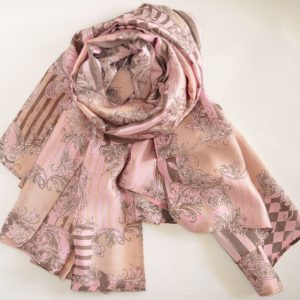 Pink with Golden Stripes Silk Scarf
