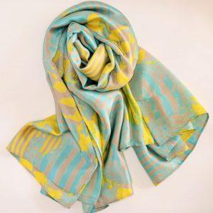 Sea Green Yellow Abstract Silk Scarf