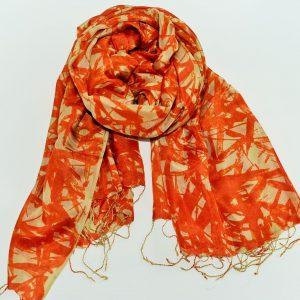 Fiery Orange Abstract Handwoven Silk Stole