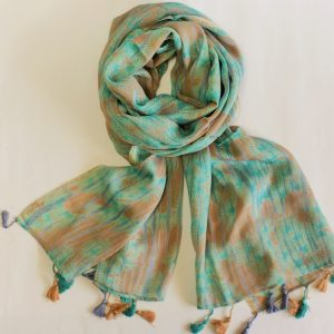 Pine Leaf Motif on Sea Green and Soft Brown with Tassels