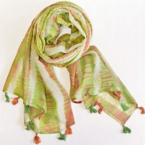 Grass Green Shaded Stole with Tassels