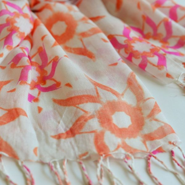 Pink and orange flowers over white base with long thin fringes irakoi home stoles and scarves summers pink and orange flowers over white base with long thin fringes mightylinksfo