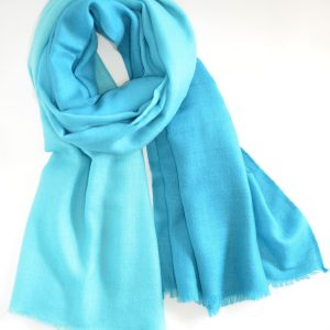 Blue Cashmere & Silk Fusion with Short Fringes