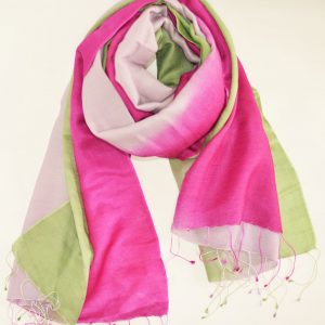 Pink Lavender Green Silk Wool Magic with Fringes