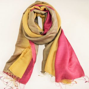 Brown Pink and Yellow Silk Wool Magic with Fringes