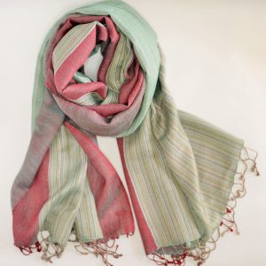 Green Threaded Pattern Silk Wool Stole with Fringes