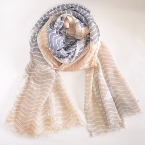 Light Peach / Grey Base Stole with White Lines with Short Fringes