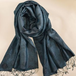 Teal Silk & Modal Stole with Soft Patterns and Fringes