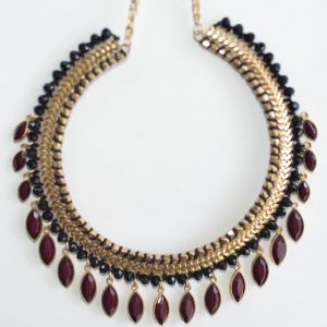 Choker Necklace with Maroon Beads