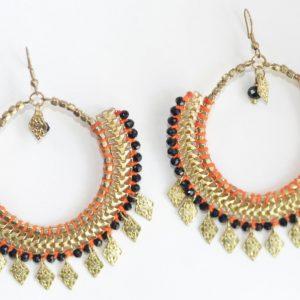 Orange Threaded Metal Earring