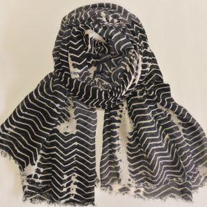 Black Grey Large Stole with White Lines and Short Fringes
