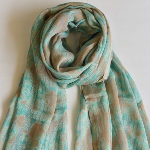 Blue Grey Fusion Stole with Floral Pattern and Tassels