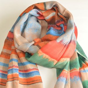 Color Layered Stole with Tassels