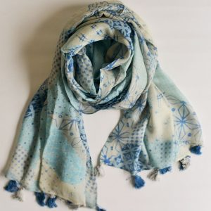 Blue Geometrical Patterned Stole with Tassels