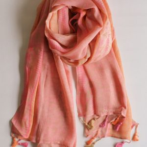 Pink and Orange Fusion Stole with Floral Pattern and Tassels
