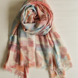 Peach and Blue Geometric Stole with Short Fringes