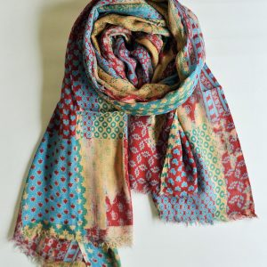 Abstract Multi Pattern Creative Stole with Short Fringes
