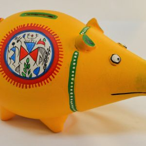 Earthen Piggy Bank with Hand Painted Tribal Arts