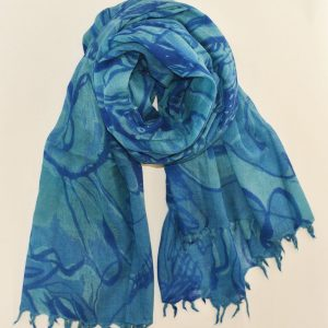 Handmade Blue Soft Wool Delight with Short Fringes