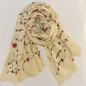 Hand Embroidered Classic Cashmere Stole