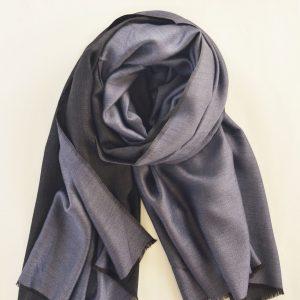 Reversible Blue & Black Cashmere Stole