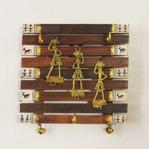 Dhokra Metal & Wood Key Hanger