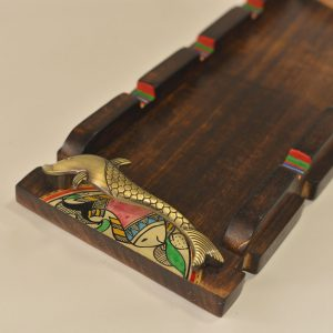 Wooden Tray with Metal Dolphin Handles