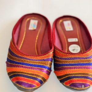 Rainbow Pattern Threaded Handmade Indian Shoes