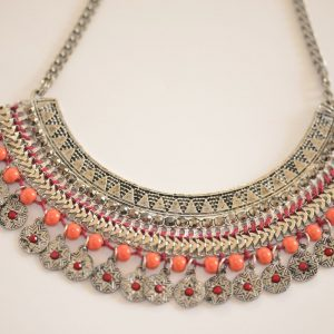 Metal Necklace with Orange Beads