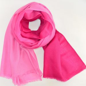 Rose Pink Cashmere & Silk Fusion with Short Fringes