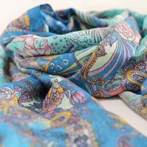 Floral Sea Blue Garden with Long Fringes Katan Silk Stole