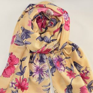 Floral Cream Garden Katan Silk Stole with Long Fringes