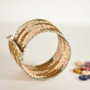 Peach & Brown Beaded Bracelet