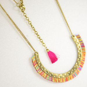 Horse Shoe Necklace with Short Colorful Fringes
