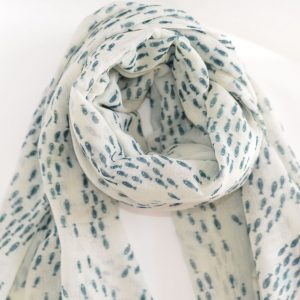 Shoal of Fish Handwoven Cotton Wool Stole (Green)
