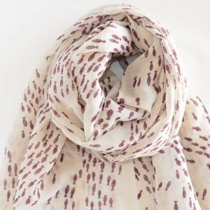 Shoal of Fish Handwoven Cotton Wool Stole (Brown)