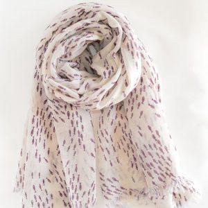 Shoal of Fish Handwoven Cotton Wool Stole (Purple)