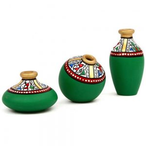Earthen Pottery with Indian Tribal Art