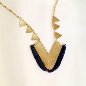Long V Golden with Blue Tassel Necklace