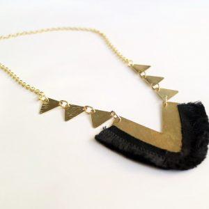Long V Necklace with Black Short Tassels